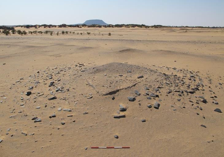 Nubian-style burial mound marking grave G244 on the surface. © Trustees of the British Museum